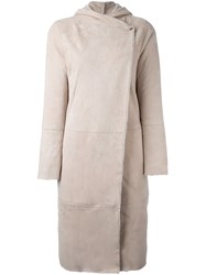 Giorgio Brato Long Hooded Coat Nude And Neutrals