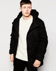 Bellfield Parka With Borg Lined Hood Black