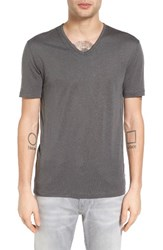 John Varvatos Men's Collection Pintuck Detail V Neck T Shirt Iron Grey