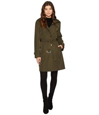 Michael Michael Kors Button Front Hooded Trench M723089c Olive Women's Coat