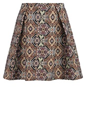 Anna Field Pleated Skirt Black Brown