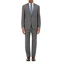 Barneys New York Men's Worsted Lotus Two Button Suit Grey