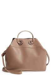 Leith Metal Handle Faux Leather Tote Bag Beige Taupe