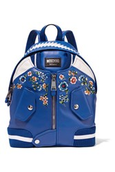 Moschino Embroidered Leather Backpack Azure