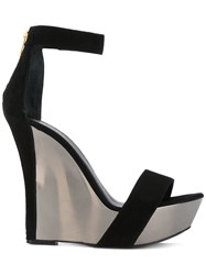 Balmain Metallic Wedges Open Women Leather Suede Metal 37 Black