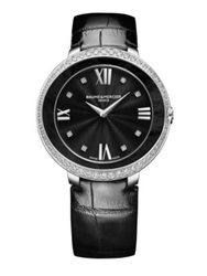 Baume And Mercier Promesse Diamond Black Mother Of Pearl Stainless Steel And Patent Alligator Strap Watch Silver Black