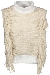 Sea Fringed Cotton Blend Boucle Turtleneck Sweater Ecru