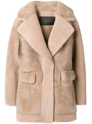 Blancha Shearling Overcoat Nude And Neutrals