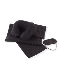 Sofia Cashmere Cable Knit Travel Gift Set Charcoal