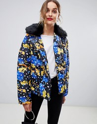 Lost Ink Padded Jacket With Faux Fur Collar In Spot Print Multi