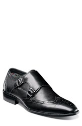 Stacy Adams Lavine Wingtip Monk Shoe Black Leather