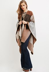 Forever 21 Colorblocked Shawl Poncho Camel Grey