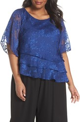 Alex Evenings Plus Size Women's Embroidered Asymmetrical Top Royal