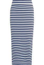 Iris And Ink Striped Cotton Maxi Skirt Navy