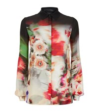 Elie Saab Abstract Floral Silk Shirt Female