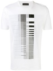 Diesel Black Gold Striped Print T Shirt White