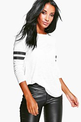 Boohoo Burnout Baseball Long Sleeve T Shirt White