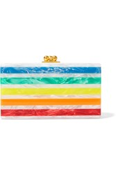 Edie Parker Jean Striped Acrylic Clutch White