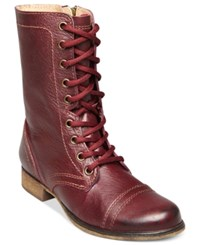 Steve Madden Women's Troopa Combat Boots Women's Shoes Burgundy Leather