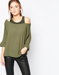 Wal G Top With Cold Shoulder And Frill Sleeve Green