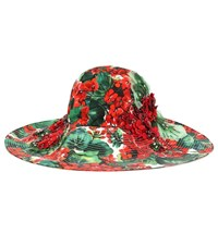 Dolce And Gabbana Embellished Floral Cotton Hat Red