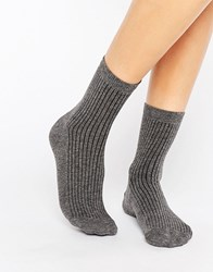 Asos Ribbed Ankle Socks Charcoal Grey