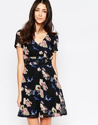 Yumi Floral And Bird Print Skater Dress Multi