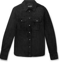 Tom Ford Slim Fit Suede Shirt Jacket Black