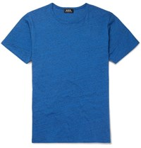 A.P.C. Slim Fit Melange Cotton Jersey T Shirt Blue