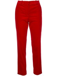Theory Velvet Trousers Red