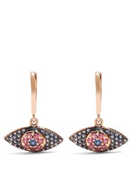 Ileana Makri Sapphire Rodolites And Pink Gold Earrings Rose Gold