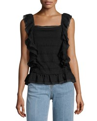 Romeo And Juliet Couture Ruffled Sleeveless Blouse Black