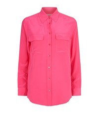 Equipment Slim Signature Double Pocket Silk Shirt Female Pink