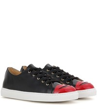 Charlotte Olympia Kiss Me Patent Leather Sneakers Black