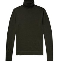 Officine Generale Slim Fit Merino Wool Rollneck Sweater Dark Green