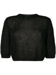 Marios Cropped Open Knit Sweater Black