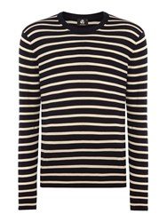 Paul Smith Men's Ps By Feeder Stripe Crew Neck Knit Navy