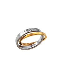 Bliss By Damiani Twoyou 18K Yellow Gold And Stainless Steel Ring Set Size 4.25