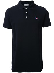 Maison Kitsune Tricolour Fox Polo Shirt Black