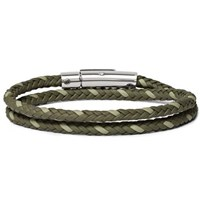 Tod's Woven Leather And Silver Tone Wrap Bracelet Green