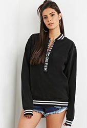 Forever 21 Defend Paris Fleece Sweatshirt Black White