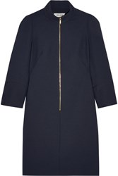 Cefinn Mandarin Collar Hopsack Mini Dress Navy