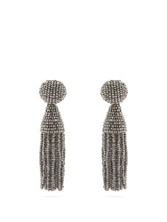 Oscar De La Renta Bead Embellished Tassel Drop Earrings Silver