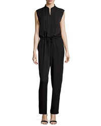 Max Studio Pleated Front Cap Sleeve Jumpsuit Black