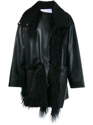 Paco Rabanne Lamb Fur Trim Coat Black