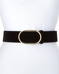 Frame Oval Ring Velvet Leather Belt Black