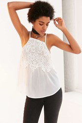 Kimchi And Blue Emery Lace Overlay High Neck Cami Ivory