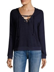 Sundry Lace Up Hoodie Heather Navy