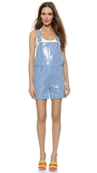 Moschino Sequin Overall Shorts Blue