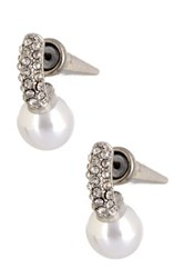 Spring Street Pearl Pave Drop Cone Stud Earrings White